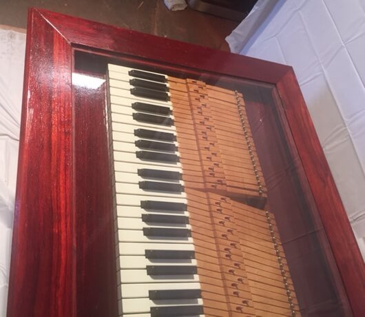 Currently For Sale - $1450 - Rare Purple Heart Coffee Table W/ Recycled Old Piano Keyboard