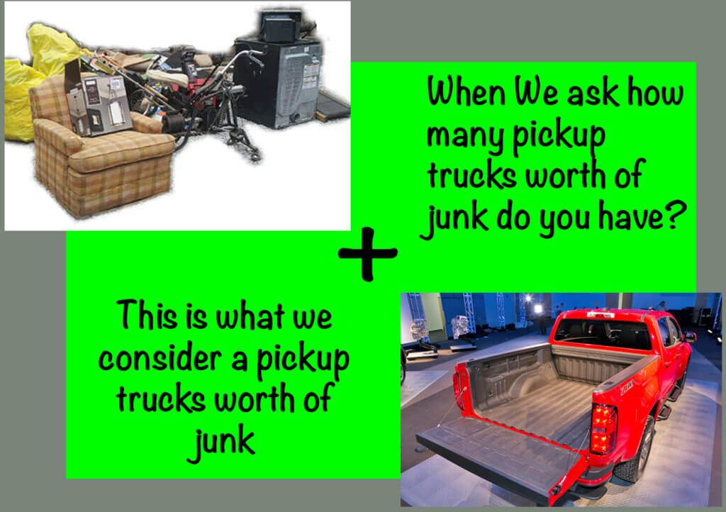 a pickups worth of junk to be disposed of for junk removal pricing purposes