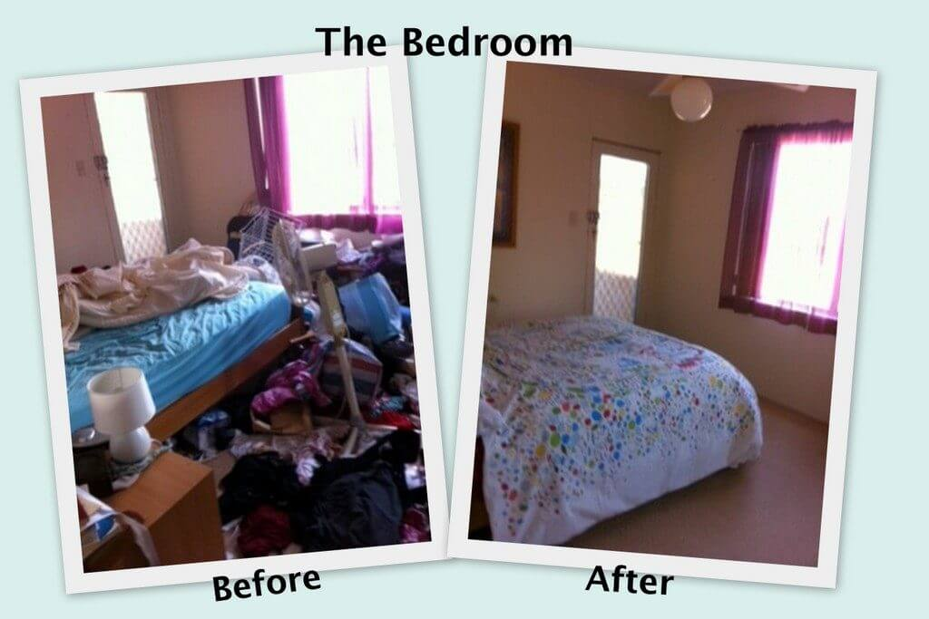 Before and After pics of a decluttering cleanout in Bedford NH