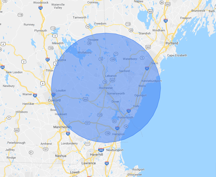 map of area serviced-portsmouth-kittery-dover-nh-me